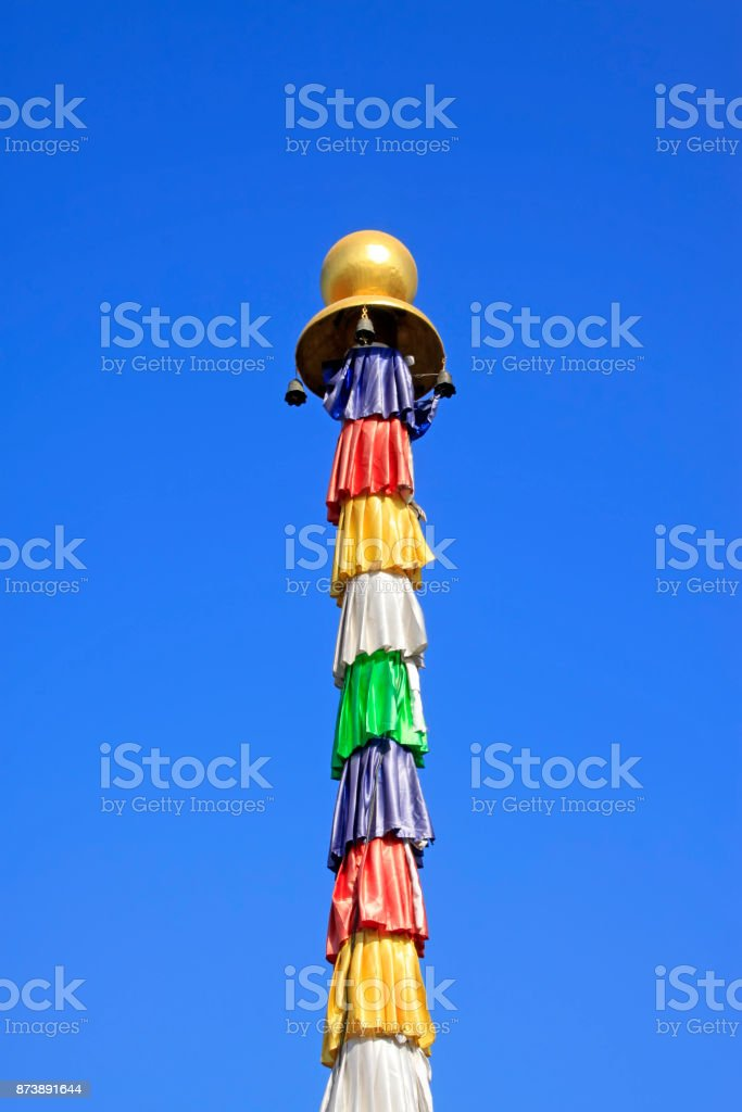 color wooden pole in a temple, closeup of photo stock photo