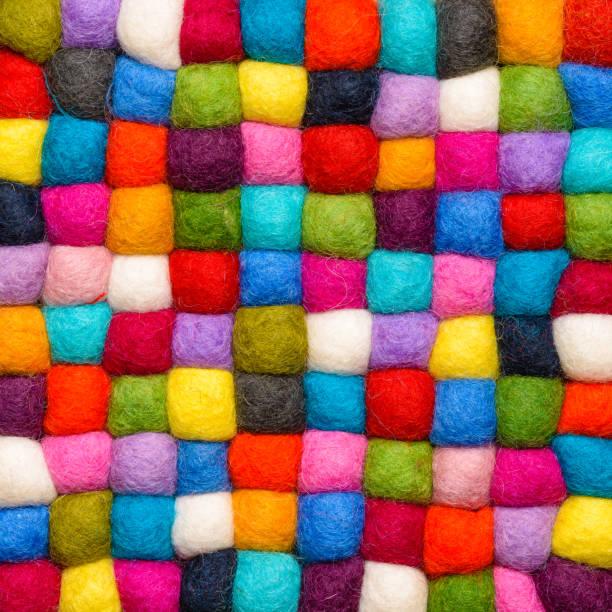 color wool background - balls of synthetic wool yarn - geometric rainbow pattern stock photo