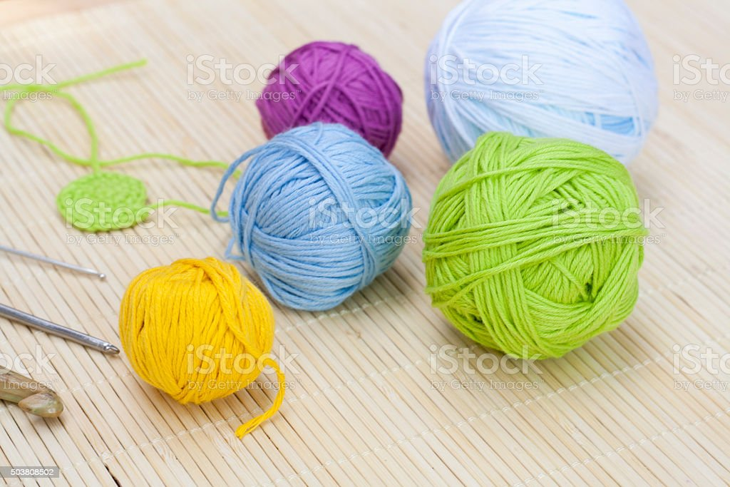 Color woolen clews for knitting royalty-free stock photo