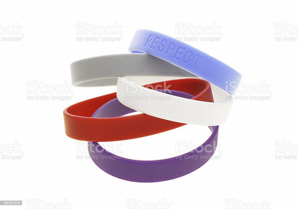 Color wrist bands stock photo