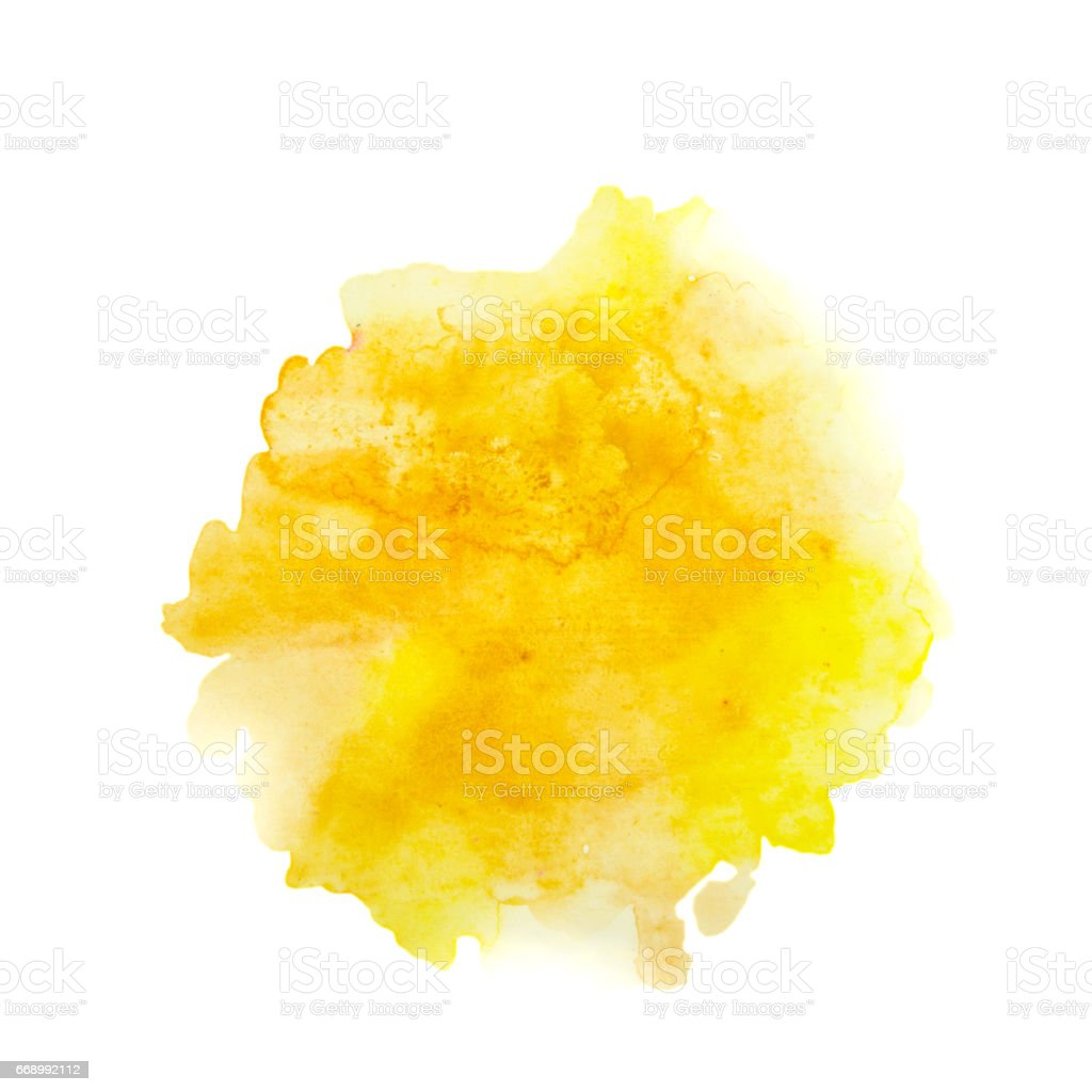 Color, yellow - orange splash watercolor hand painted isolated on white background, artistic decoration or background stock photo