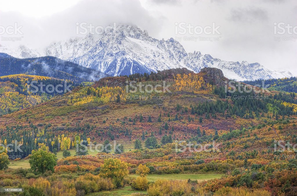 Colorado Autumn Landscape and Snow Capped Peak royalty-free stock photo