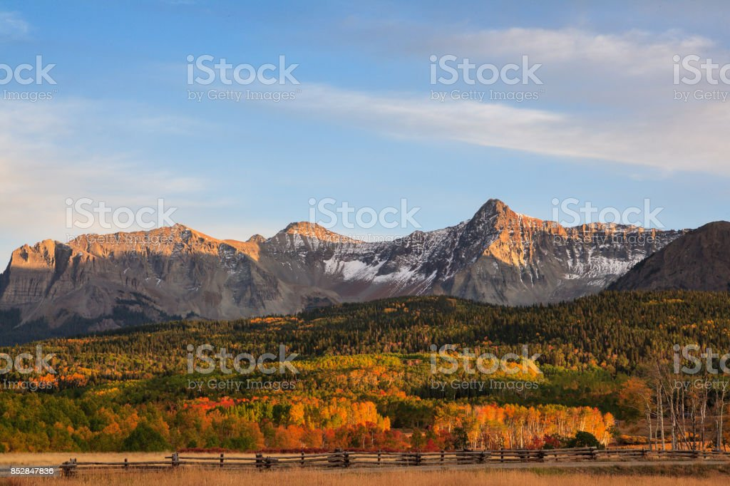 Colorado Autumn Scenery - The San Juan Mountains near Last Dollar Road stock photo