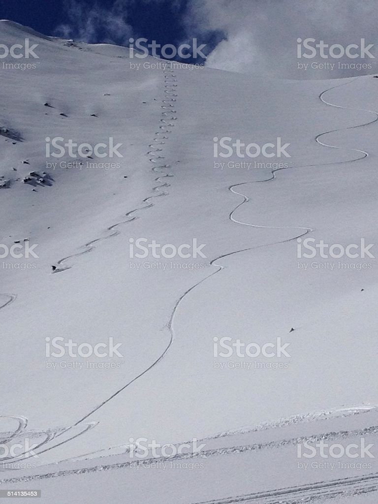 Colorado backcountry ski line stock photo