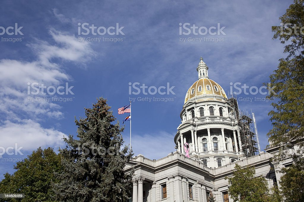 Colorado Capitol Building Dome repair scaffolding and construction copy space stock photo