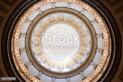 Colorado capitol dome looking up.