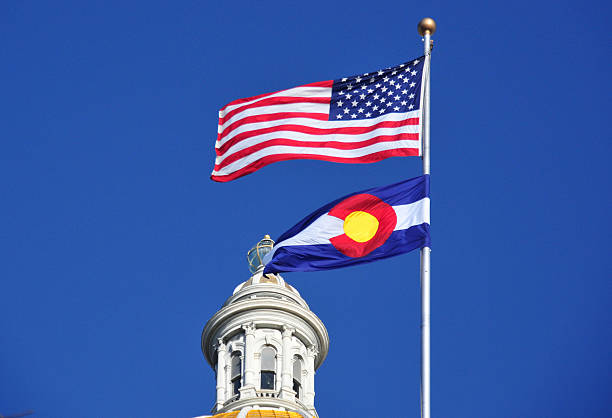 colorado capitol - state and us flags - colorado state capitol stock photos and pictures