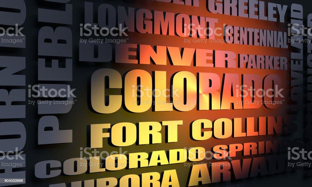 Colorado cities list stock photo