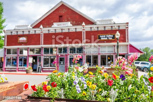 Crested Butte, USA - June 21, 2019: Colorado colorful village store shopping downtown in summer with vintage mountain architecture and foreground of potted flowers