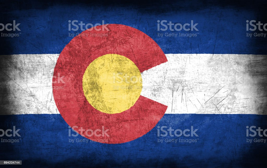 Colorado flag with grunge metal texture stock photo