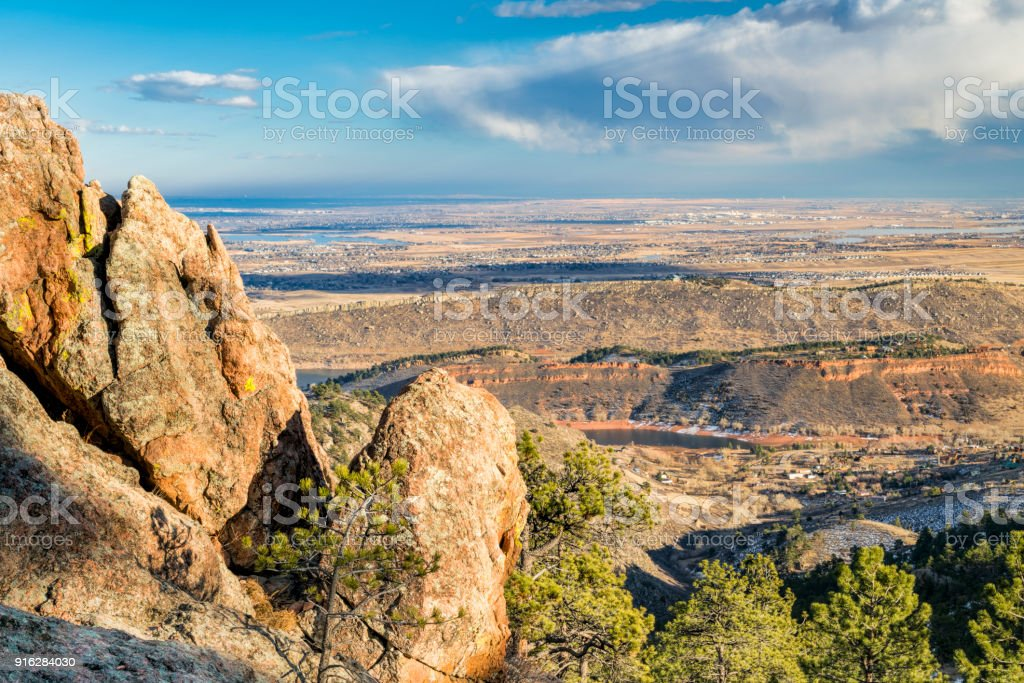 Colorado foothills and Loveland from Horsetooth Rock stock photo