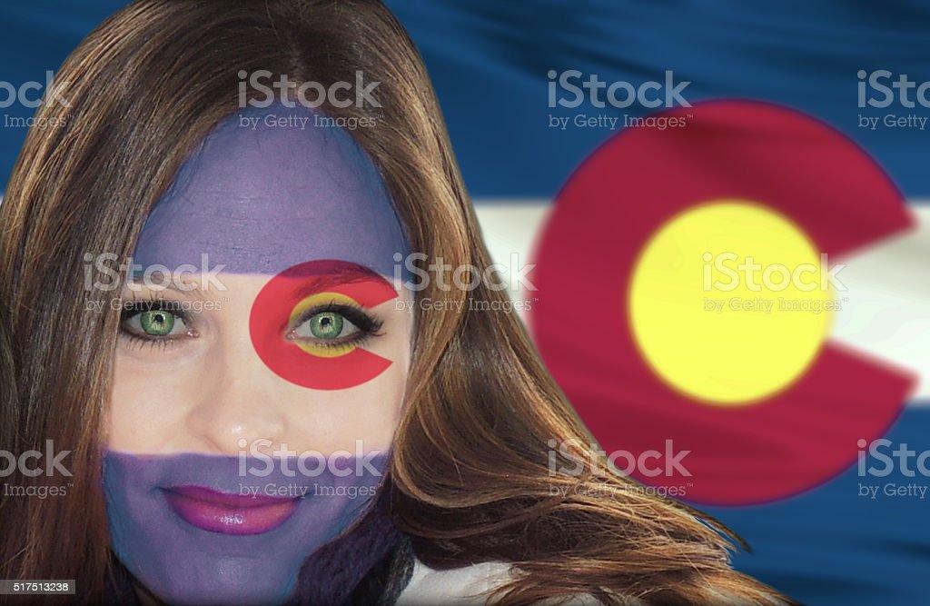 Colorado girl fan stock photo