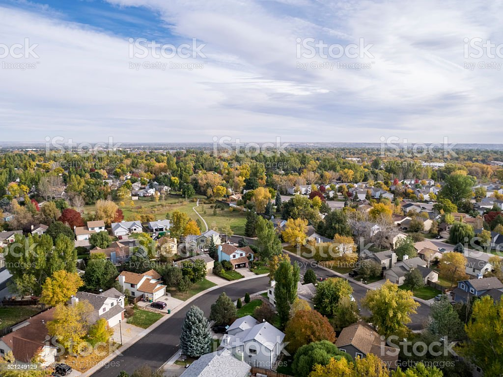 Colorado houses aerial view stock photo