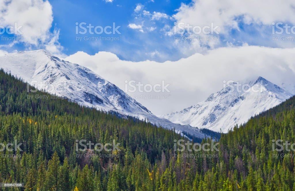 Colorado Mountain Fall Snow stock photo