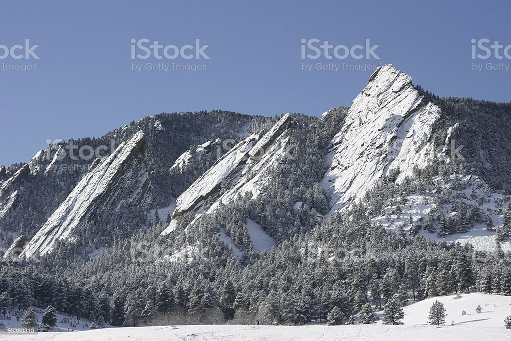 Colorado Mountain Flatirons Covered With Snow royalty-free stock photo