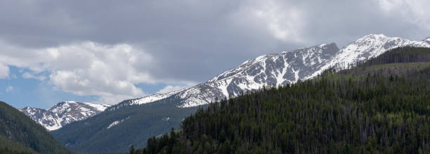 Colorado Mountain Landscape Snowcapped Peaks Spring time in the Colorado Rockies near Vail Ski Resort minturn colorado stock pictures, royalty-free photos & images
