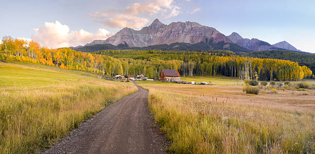 Colorado Mountain Ranch in Autumn Ranch at the foot of Wilson Peak in southwest Colorado in the fall. san juan mountains stock pictures, royalty-free photos & images
