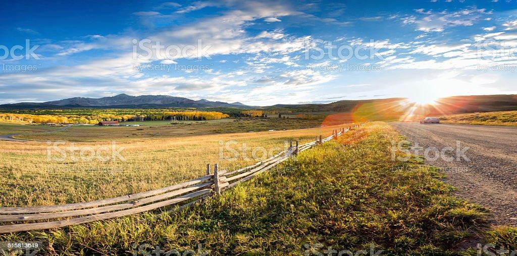 Colorado Mountain Ranch in Autumn stock photo