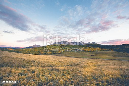 Beautiful mountain ranch at sunset high in the Colorado Rocky Mountains