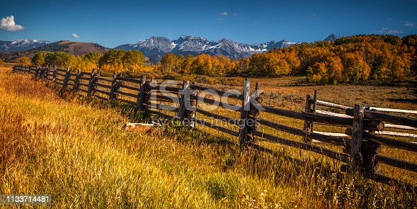 Fences divides a field in the Colorado mountains at autumn