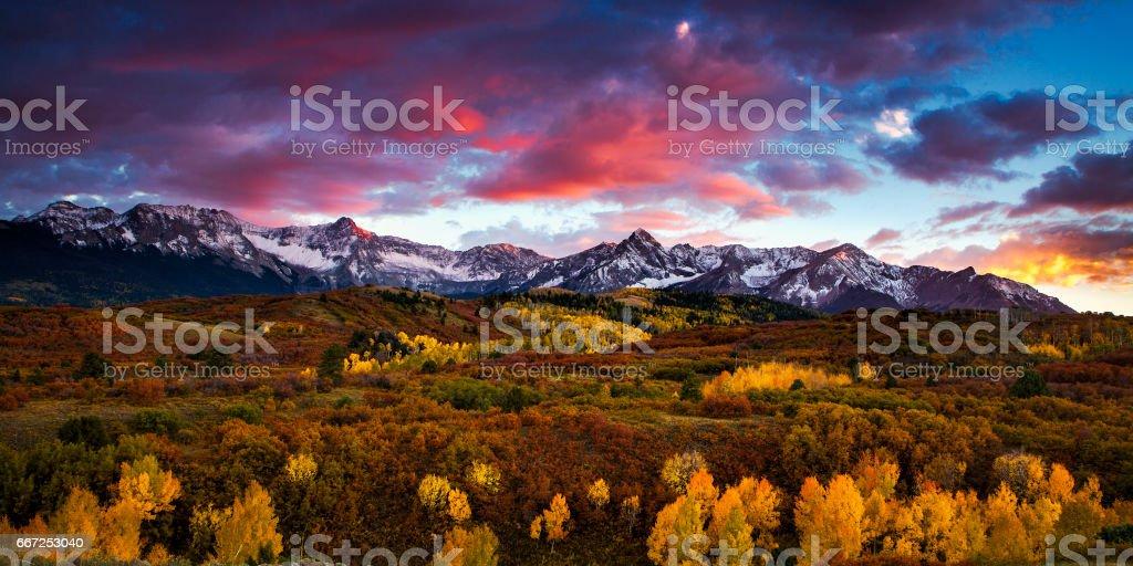 Colorado Mountains at Autumn stock photo