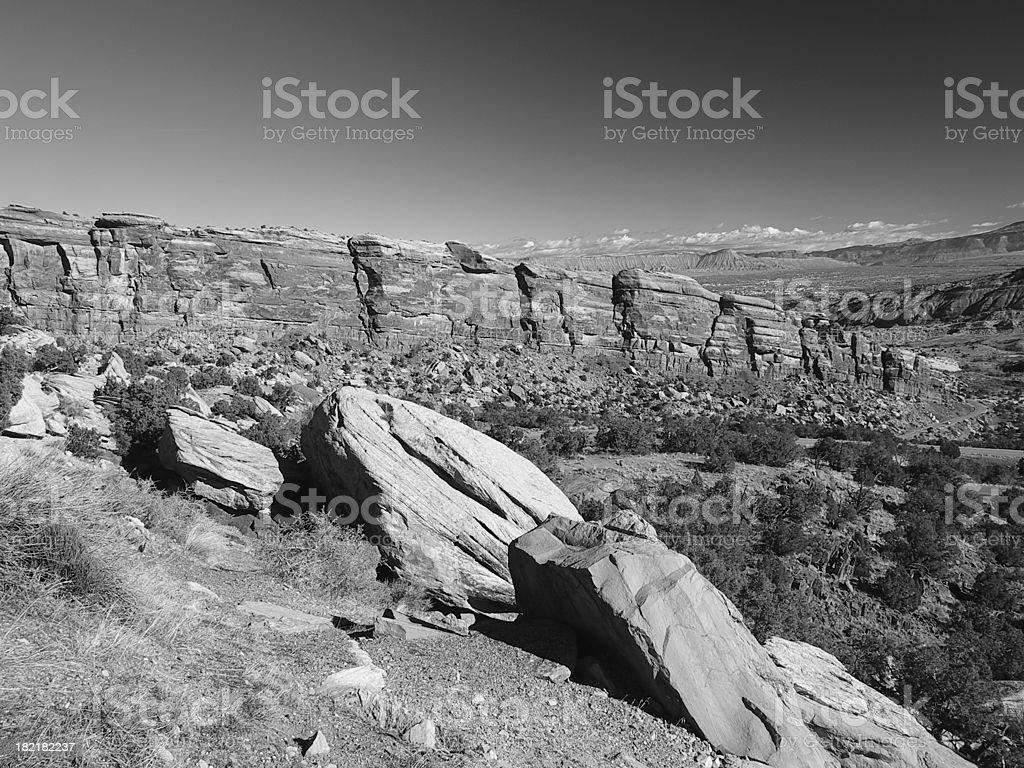 Colorado National Monument #2 - black & white royalty-free stock photo