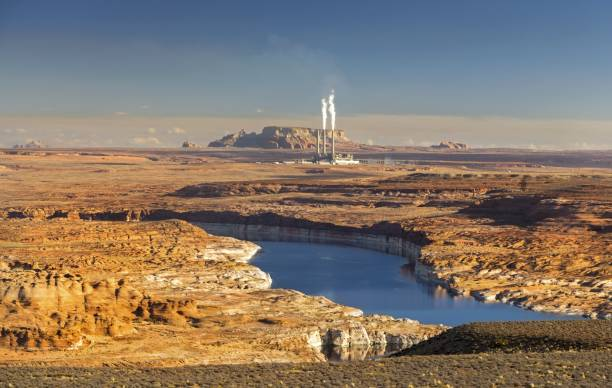 colorado river and navajo power plant in page arizona - native american reservation stock photos and pictures