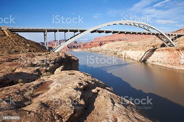 """Bridge over the Colorado River where it goes into Lake Powell at Hite, Utah."""