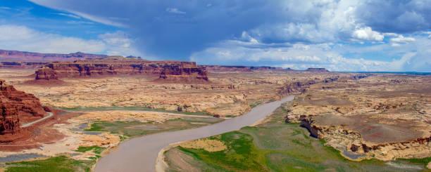 Colorado River Dirty Devil River Confluence Panorama stock photo