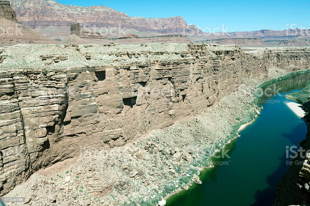 Colorado River flowing through gorge in northern Arizona stock photo
