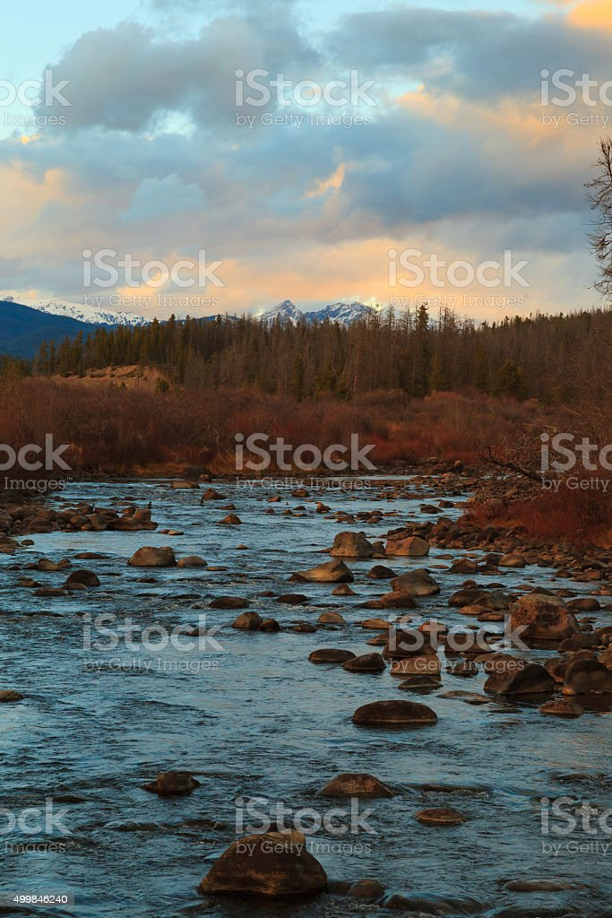 Colorado river headwaters at sunset stock photo