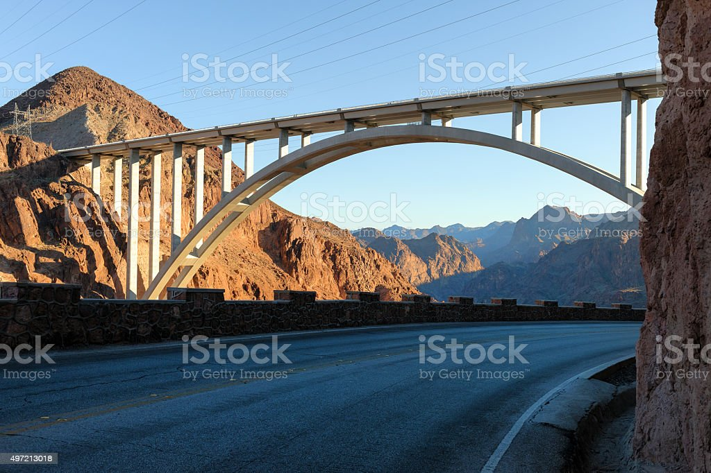 Colorado River in Black Canyon with Bridge and Power Plant stock photo