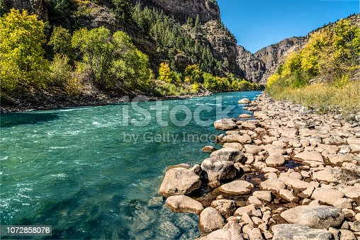 Glenwood Canyon is a rugged scenic 12.5 mi (20 km) canyon on the Colorado River in western Colorado in the United States. Its walls climb as high as 1,300 feet (400 m) above the Colorado River. It is the largest such canyon on the Upper Colorado.