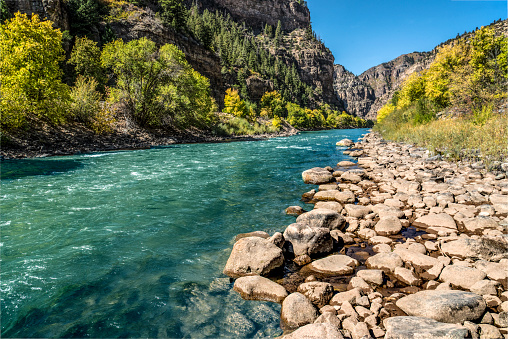 Glenwood Canyon is a rugged scenic 12.5mi (20km) canyon on the Colorado River in western Colorado in the United States. Its walls climb as high as 1,300 feet (400m) above the Colorado River. It is the largest such canyon on the Upper Colorado.
