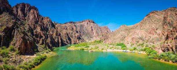 Colorado River in Grand Canyon from Kaibab Bridge panorama Arizona stock photo