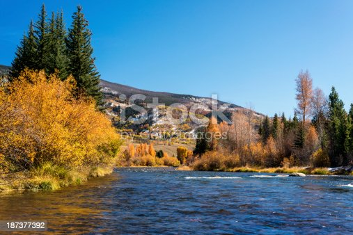 Looking south along the Colorado River during fall in the Rocky Mountains of Colorado.  Image captured noth of Silverthorne in Summit County. Pine, aspen, willows, and cottonwood line the river's edge. A light snow is visible on the mountains.