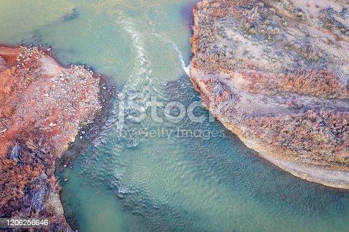 Aerial view of one of the channels of Colorado River at Rocky Rapid above Moab, Utah