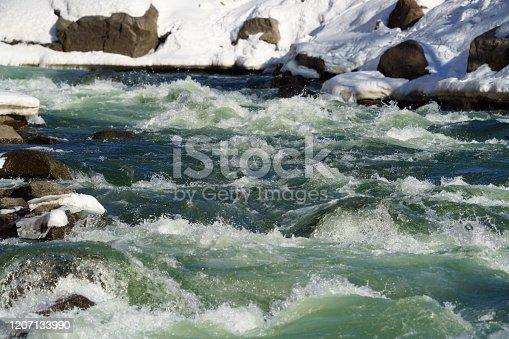 Colorado River Whitewater Rapid in Winter