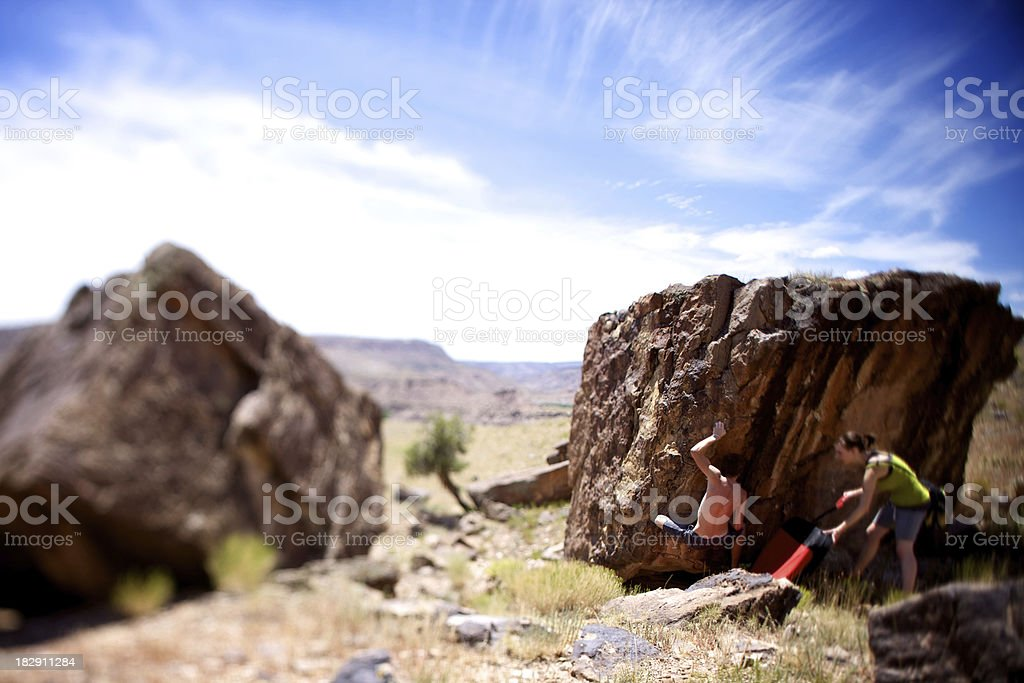 colorado rock climbing bouldering stock photo
