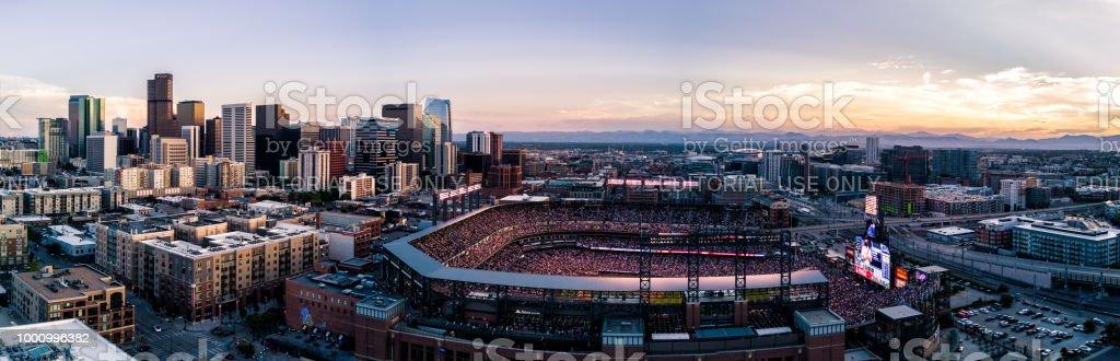 Colorado Rockies baseball stadium at sunset.  Denver, Colorado stock photo