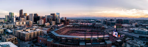 Colorado Rockies baseball stadium at sunset.  Denver, Colorado stock photo