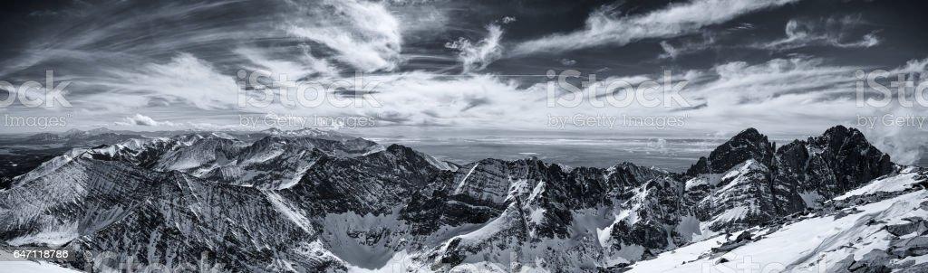 Colorado Rocky Mountain summit panorama in winter. stock photo