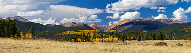 Colorado Rocky Mountains in Fall Panoramic landscape of the Colorado Rocky Mountains in Fall panoramic stock pictures, royalty-free photos & images