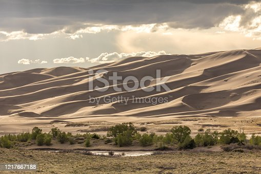 Sunlight and shadows dance along a giant sand dune ridge in Colorado's Great Sand Dunes National Park.