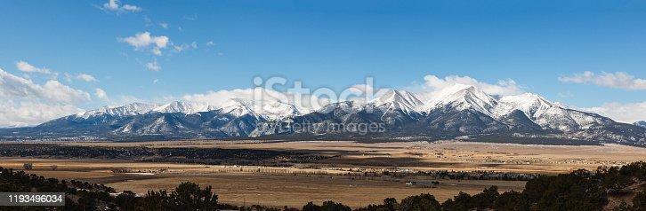 Landscape Panoramic of the Collegiate Mountain Range. The Scenic Beauty of Colorado