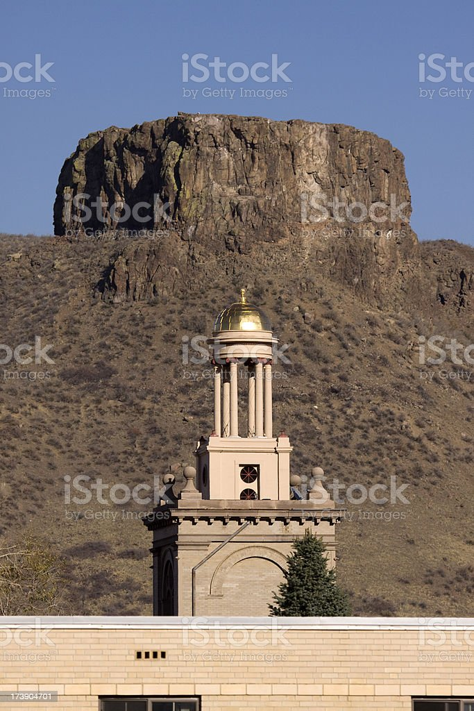 Colorado School of Mines and Castle Rock, Golden stock photo