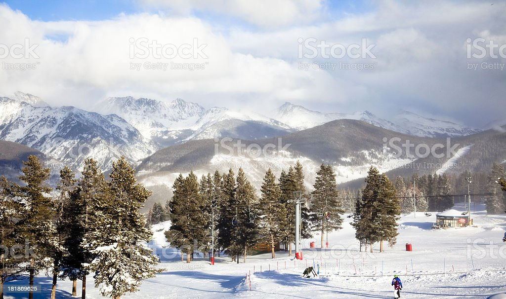 Colorado:  Ski school area at top of mountain in Vail. royalty-free stock photo