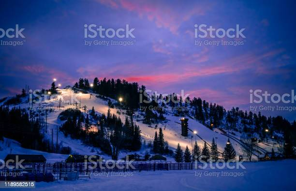 Photo of Colorado ski slope during blue hour in winter
