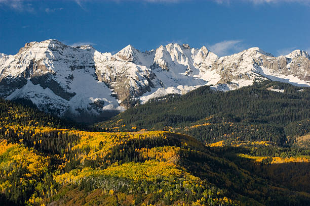 Colorado Snow Capped Peak  rocky mountains north america stock pictures, royalty-free photos & images