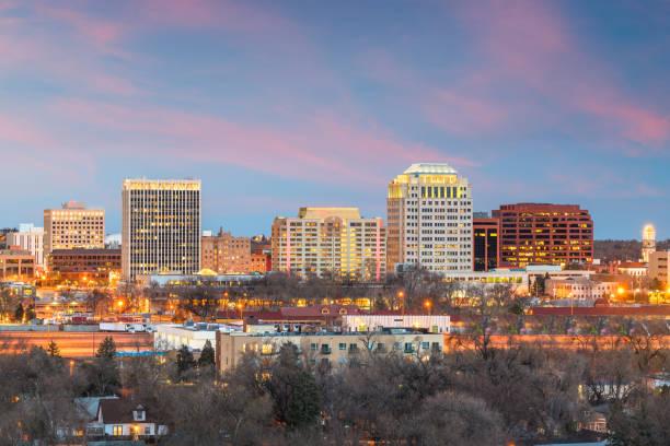 Colorado Springs, Colorado, USA downtown city skyline stock photo